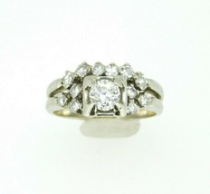 14k White Gold Genuine Natural Diamond Wedding Set .90ct (#J812) - $995.00