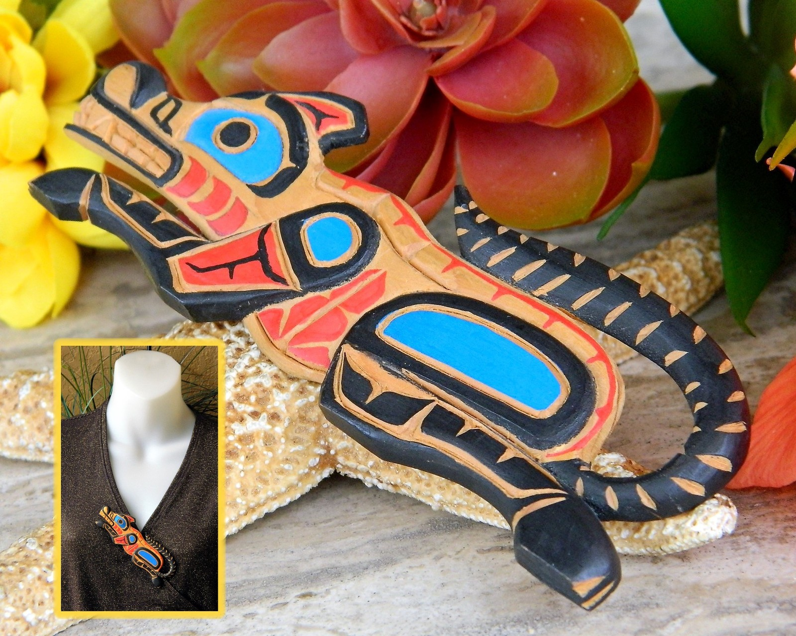 Pacific Northwest Coast Native Wolf Carved Wooden Brooch Alan Natrall