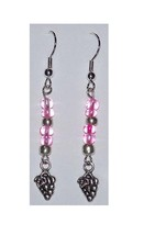 Earrings Small Grape Cluster Wine Charm Sterling Wire Lt Pink & Silver B... - $10.45
