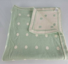 Baby Gap Vintage 2-ply Cotton Infant Knit Sweater Blanket Mint Green Cream Dots - $79.19
