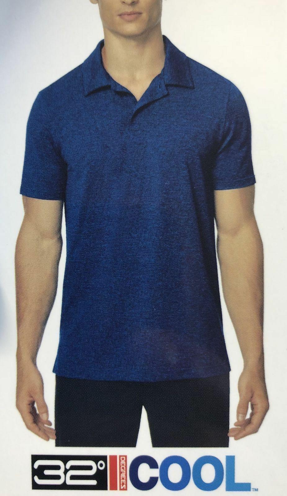 NEW 32 Degrees Men's Performance Polo, Ht. Lapis Blue