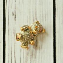 vintage rhinestone teddy bear pin brooch cute - $9.89