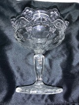 Vintage Fenton Glass Crystal Clear Floral Pattern Footed Compote Candy Bowl - $35.00
