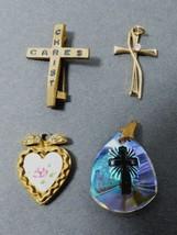 VTG Lot of 4 pendants charms pin Rhinestone  Heart  Cross Rose Flower GF - $17.67
