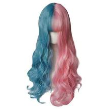 65 cm Pink/Blue Long Curly Wave Synthetic Hair Wig Cosplay Wig Costume Full Wig