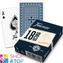 FOURNIER 18 VICTORIA PLASTIC COATED POKER PLAYING CARDS DECK BLUE STANDA... - $5.51