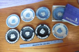 Lot Of 8 Vintage Wedgwood Jasperware Neoclassical Relief Trinket Ash Tray Round - $99.00