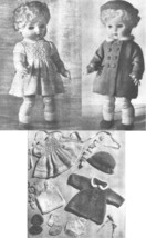 Vintage knitting pattern for Dolls outfit. Coat, dress & hat. 14in Roseb... - $4.24