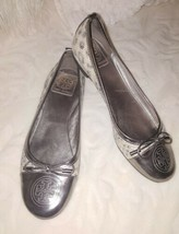 Tory Burch Medallion Gun Metal Silver Snake embossed leather Flats Shoes... - $51.17