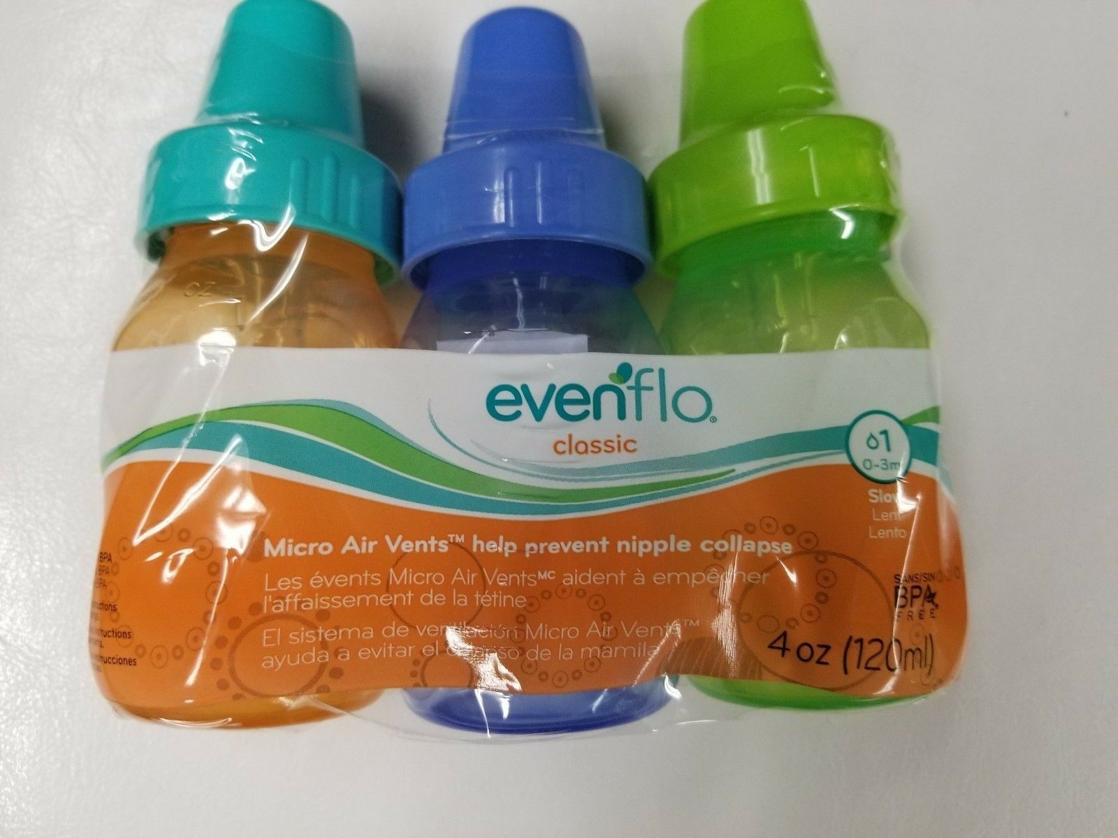 EvenFlo Classic Micro Air Vents 0-3m1 Slow Flow BPA Free 3 Pack 4 OZ Each - $9.49