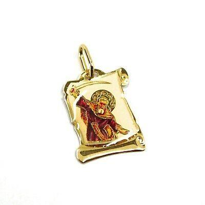 SOLID 18K YELLOW GOLD MEDAL, 17x12 mm, SAINT ELIA ELIAS, ENAMEL, PARCHMENT