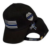 Thin Blue Line USA Police Memorial Ribbon Badge Fallen Black Officers Cap Hat - $19.88
