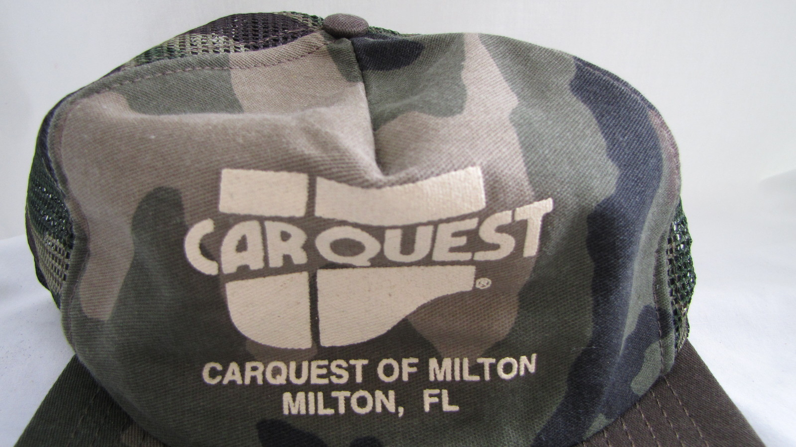 Car Quest of Milton, FL Camo Baseball Trucker Hat Snap Back Mesh Back - Vintage