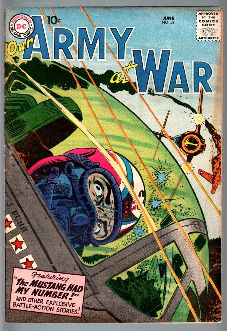OUR ARMY AT WAR #59 1957-DC WAR COMIC-JOE KUBERT-WILD DOGFIGHT COVER-FN FN