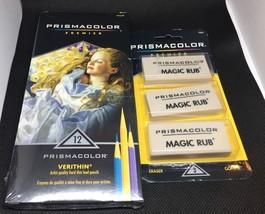 Prismacolor Premier Verithin 12 Pack Hard Thin Lead Pencils Magic Rub Er... - $15.83