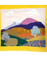 "Hand Made Quilted Wall Hanging~ 18"" x 21"" Retro Landscape - $18.95"