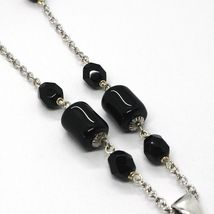 Silver 925 Necklace, Onyx Black Pipe, Locket & Stars Circles, Waterfall image 4