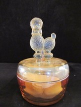 Jeanette Amber Depression Glass Powder Box With A Poodle On The Lid From... - $29.92