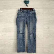 NWT Arizona Jeans Co SZ 5 Junior Paint Spatter Distressed Light Wash Denim Jeans - $31.23