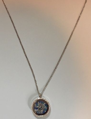 Necklace with Floating Hamsa Hand Swarovski Crystals Pendant Fatima Evil Eye