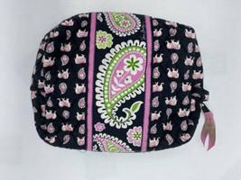 Vera Bradley Pink Elephant Large Cosmetic Makeup Bag Black Paisley Lined - $19.99