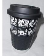Disney Mickey Mouse Goofy Travel Coffee Cup Mug Black White Sleeve Lid - $22.22