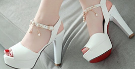 95S017 Cute high-heeled sandals w pearl strap, size 3-10, white - $52.80