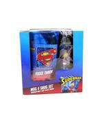 DC COMICS SUPERMAN MUG & SNUG SET TRAVEL MUG & COZY FLEECE THROW NEW - $21.99