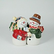 Holiday Interlocking Snowman Salt Pepper Shakers with Stoppers by SW - $13.98
