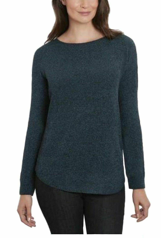 Ellen Tracy Women's Scoop Neck Chenille Sweater Deep Ocean Tweed Sz XL  - $15.79