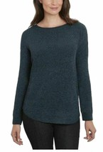 Ellen Tracy Women's Scoop Neck Chenille Sweater Deep Ocean Tweed Sz XL  - $15.79