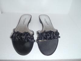 Authentic Dolce & Gabbana Size 36.5 sandals Black Satin Ruffle Flats - $139.93