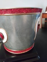 Tin Planter Holder Hanging Red Hearts Made in Philippines Planter image 2