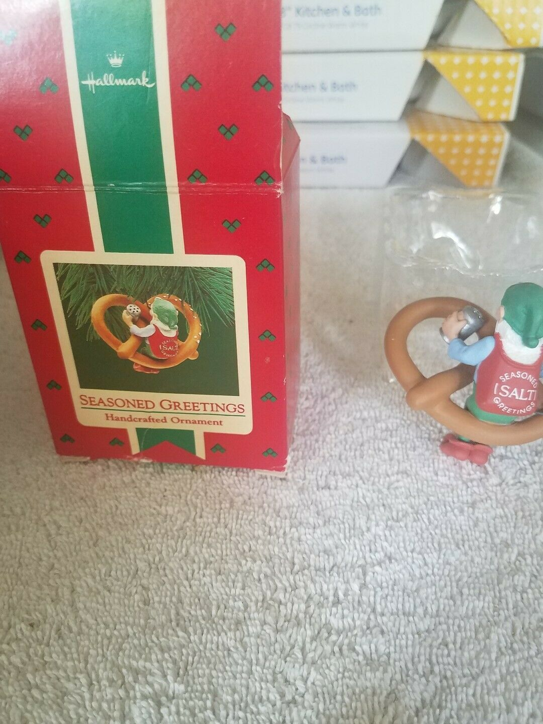 Primary image for Seasones Greetings Elf Pretzel Handcrafted Ornament Christmas display store mode