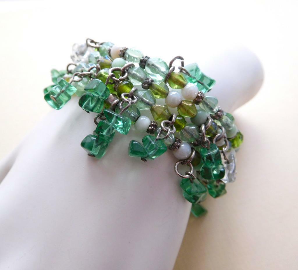 Retro Shades of Green Glass Gemstone Bead Fringe Wrap Cuff Bangle Bracelet D34 image 2