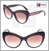 DOLCE & GABBANA Sequined 6110 Shiny Black Pink Gradient Cat Eye Sunglass DG6110 - $221.86