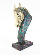 Decorative Collectible Royal Lapis Turquoise Coral Work Brass Horse Stat... - $965.20