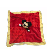 Red Mickey Mouse Security Blanket Lovey Soft Baby Toy Plush Yellow Trim Disney - $19.79