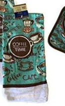 COFFEE TIME KITCHEN TOWEL Cafe Mocha Brown Turquoise Kitchen Linen image 3