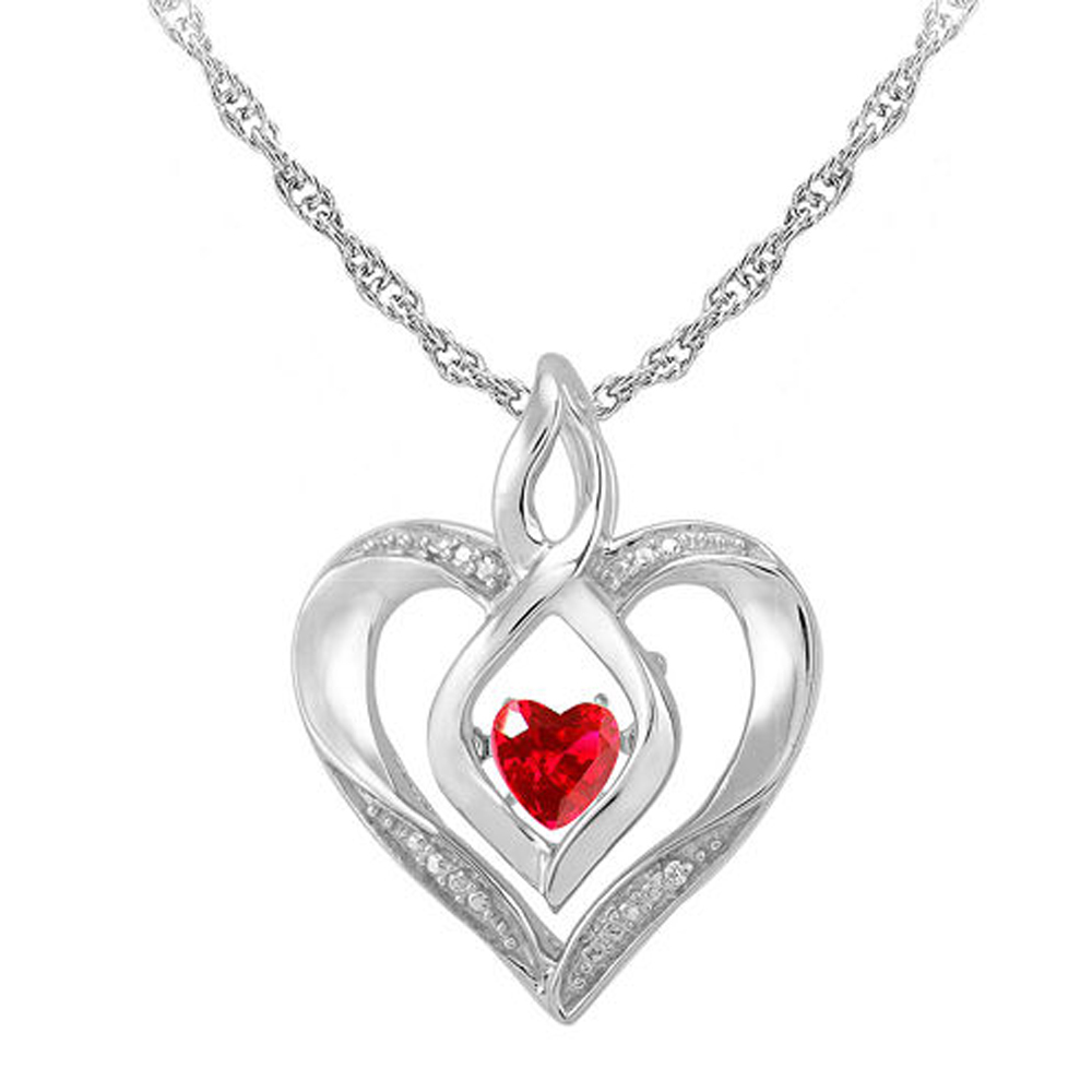 "Primary image for Ruby & Sim.Diamond-Accent 14K White Gold Fn Heart Pendant W/ 18"" Chain Necklace"