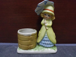 1978 Jasco Little Luvkins Girl With Umbrella By Well Candle Holder - $10.99