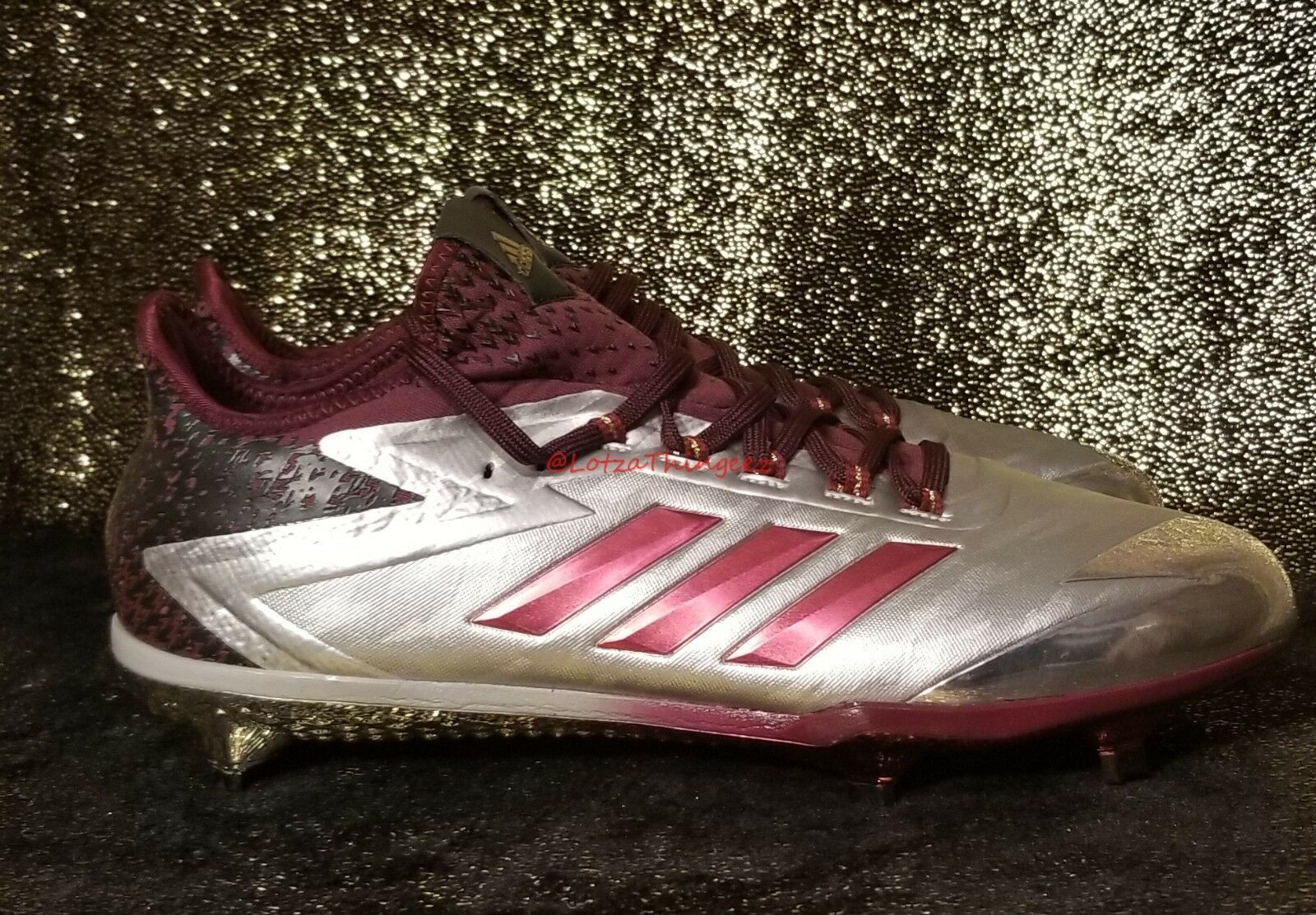 Adidas Ortholite 11.5 Baseball Cleats ADIZERO Afterburn 4 Le Maroon Silver New