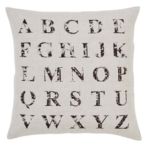 "Alphabet Natural Pillow w/Down Fill- 18""x18"" - VHC Brands -Farmhouse Ranch Style"