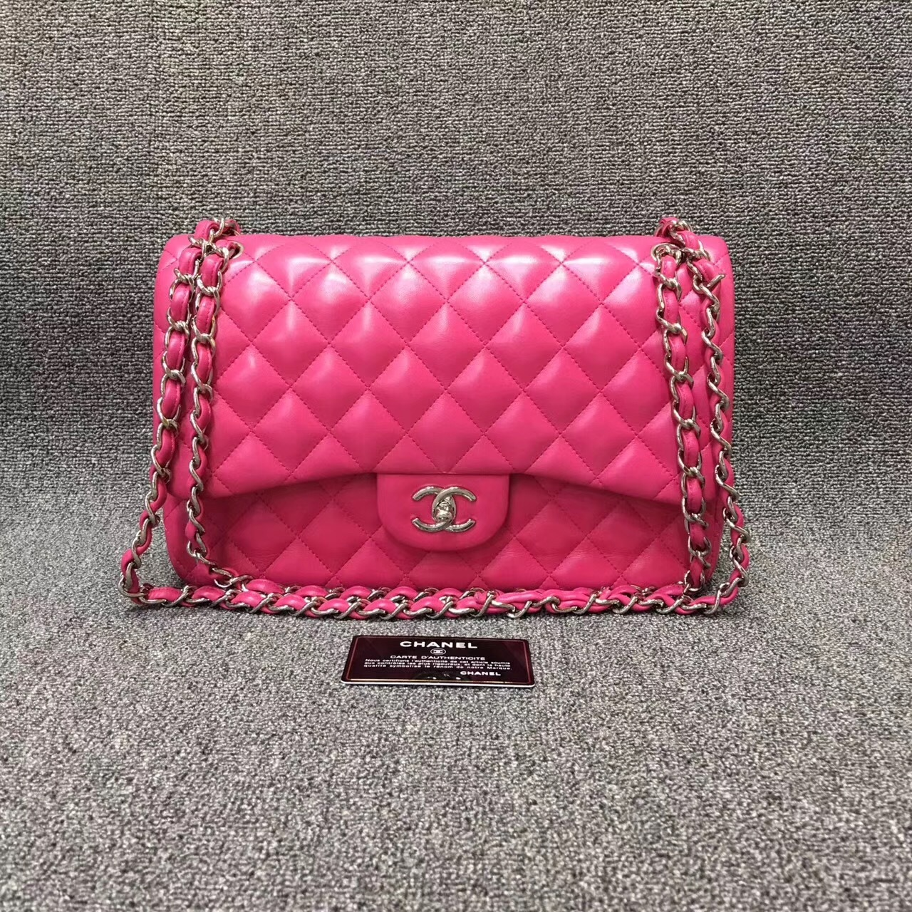 108742f88df AUTHENTIC CHANEL HOT PINK QUILTED LAMBSKIN JUMBO DOUBLE FLAP BAG SHW ...
