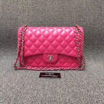 AUTHENTIC CHANEL HOT PINK QUILTED LAMBSKIN JUMBO DOUBLE FLAP BAG SHW
