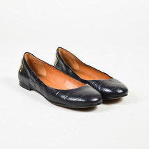 Givenchy Black Embossed Leather Gold Metal Ballet Flats SZ 39 - $105.00