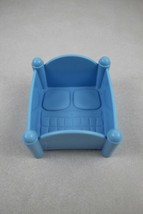 FISHER PRICE Loving Family Dollhouse Blue Twin Baby Bed Cot - $4.94