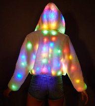 LED Jacket Light Up Rave Stage Faux Fur Coat image 5