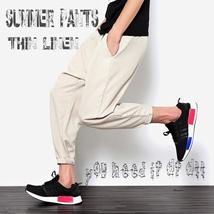 2018 New Summers Linen Pants Men Casual Ankle-Length Harem Pants Solid Linen Cot image 8