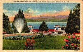 LINEN POSTCARD- LOOKING NORTH FROM FORT WILLIAM HENRY HOTEL,LAKE GEORGE,... - $2.94
